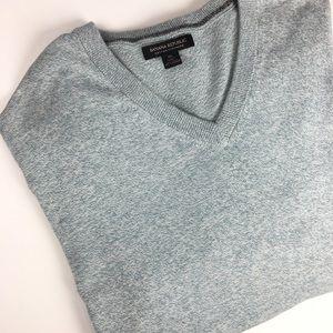 XL Knit Cashmere Cotton Sweater Green-Gray Cream